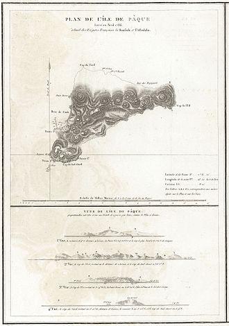 History of Easter Island - 1786 La Pérouse map