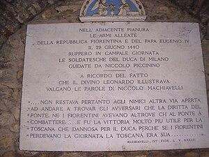 Battle of Anghiari - Plaque in memory of the battle of Anghiari