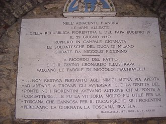Battle of Anghiari - Plaque in memory of the battle of Anghiari