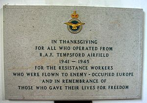 RAF Tempsford - The memorial plaque inside St Peter's Church, Tempsford