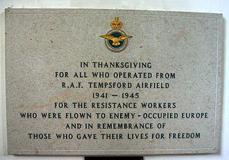 RAF Tempsford - The memorial plaque inside St Peter's Church, Tempsford