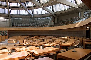 Landtag of North Rhine-Westphalia - Plenary Chamber (before its renovation in 2012). The view is of the SPD seating area.