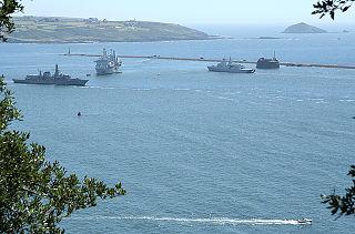 Plymouth Sound Bay at Plymouth, England, UK