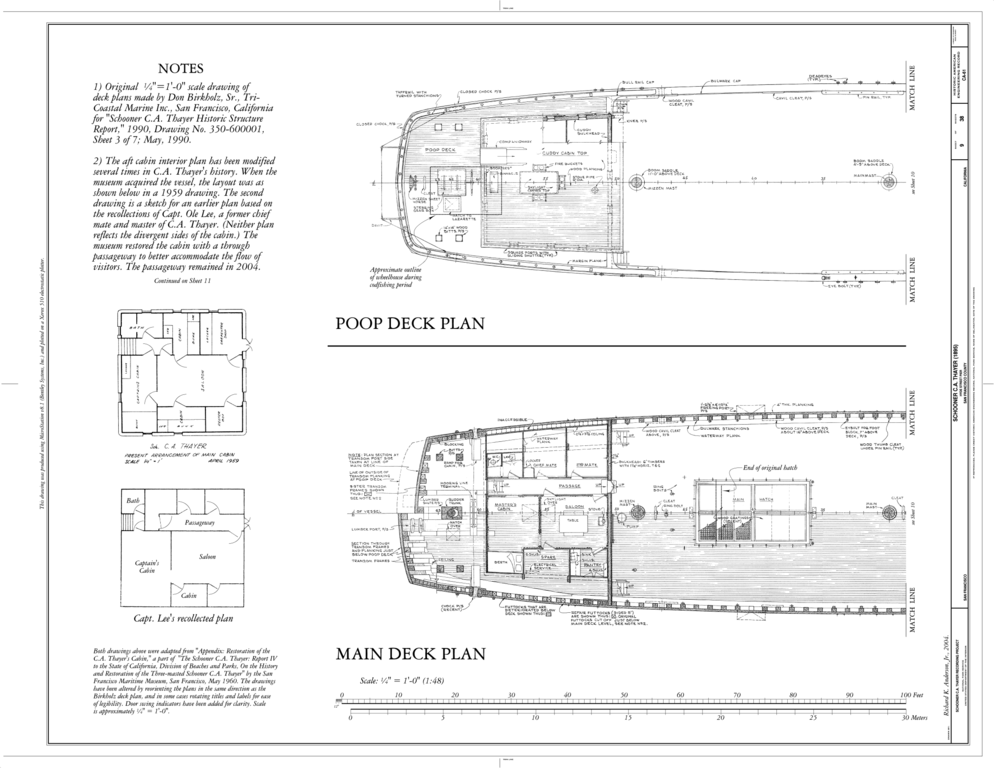 File:Poop Deck Plan, Main Deck Plan - Schooner C.A. THAYER, Hyde Street Pier, San Francisco, San ...