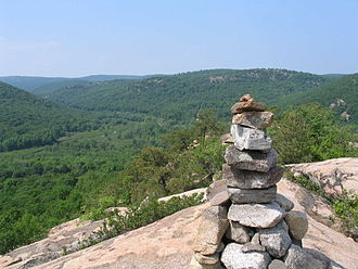 Popolopen - The cairn atop Popolopen Torne in 2006, facing northwest, with Cranberry Brook and the military reservation below.