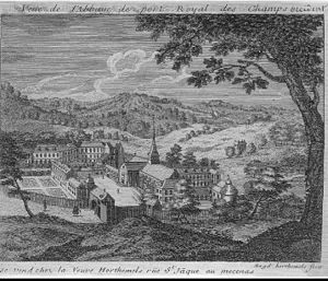 Charles-Nicolas Cochin - Abbey of Port-Royal-des-Champs, engraved by Cochin's mother Louise-Magdeleine Horthemels.