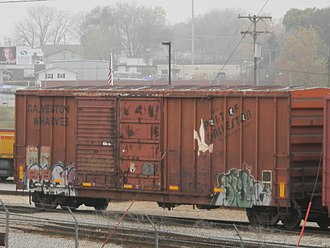Port of Galveston - Port of Galveston- Galveston Wharves boxcar with CRANDIC markings on the CRANDIC at Cedar Rapids, Iowa.