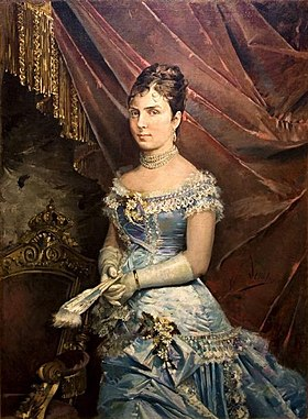 Portrait painting of María de las Mercedes de Orleans (wife of King Alfonso XII of Spain) by José Denis Belgrano.jpg