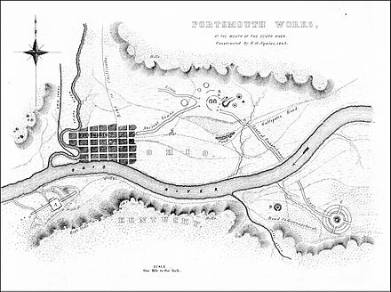 1847 map showing the location of the Portsmouth Earthworks northeast of Portsmouth.[8]