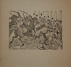 "Irreligion in Mexico - The Street Gazette: ""Anti Clerical Manifestation"", by Posada, shows the Mexican Army cavalry attacking irreligious peasants who protested the power of the Roman Catholic Church."