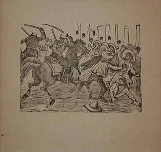"""Irreligion in Mexico - The Street Gazette: """"Anti Clerical Manifestation"""", by Posada, shows the Mexican Army cavalry attacking irreligious peasants who protested the power of the Roman Catholic Church."""