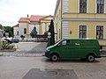 Postal van, former District Court and Saint Anne church, 2019 Kapuvár.jpg