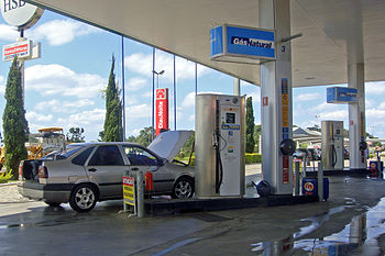 English: Natural gas pumps at a multifuel serv...