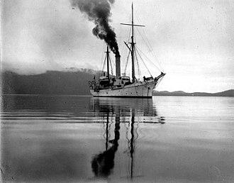 USS Albatross (1882) - Power schooner Albatross in Alaskan waters, undated photo by John Nathan Cobb