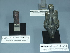 Czech art - Copy of Venus of Petřkovice beside that of Venus of Dolní Věstonice at an exhibition in the National Museum, Prague
