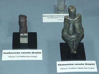 Venus of Petřkovice - Copy of Venus of Petřkovice beside that of Venus of Dolní Věstonice at an exhibition in the National Museum, Prague