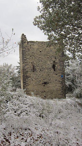 Première tour du château de Montmayeur, sur la crête du Mont Raillant (commune de Villard-Sallet, Savoie)