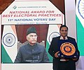 President of India virtually conferring National Award to Satendra Singh on National Voters Day 2021.jpg