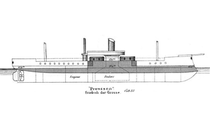 SMS Grosser Kurfürst (1875) - Line-drawing of a Preussen-class ironclad