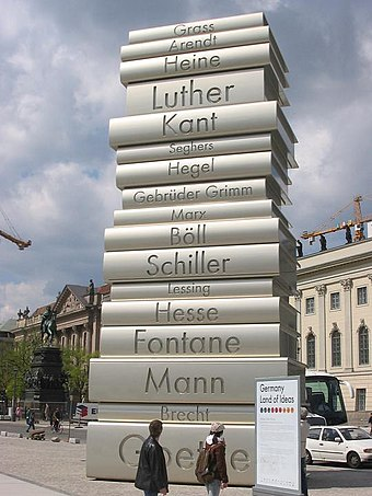 Walk of Ideas, Berlin, a sculpture honoring Johannes Gutenberg and some of Germany's most influential writers Printing3 Walk of Ideas Berlin.JPG