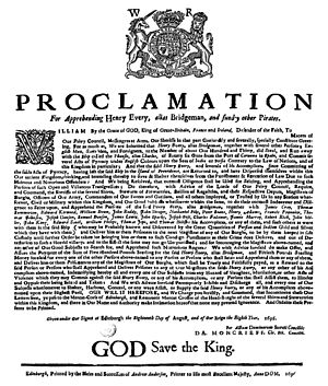 Henry Every - The proclamation for the apprehension of Henry Every, with a reward of £500 sterling, that was issued by the Privy Council of Scotland on 18 August 1696