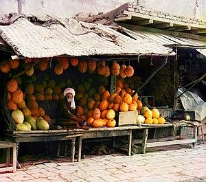 Turkmen cuisine - Melon vendor from Samarkand, Russian Turkestan (picture taken around 1905 to 1915)