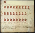 Proof sheet of one penny stamps Stamp Act 1765.jpg
