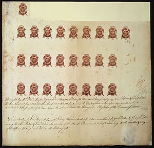 British Library Philatelic Collections - Image: Proof sheet of one penny stamps Stamp Act 1765