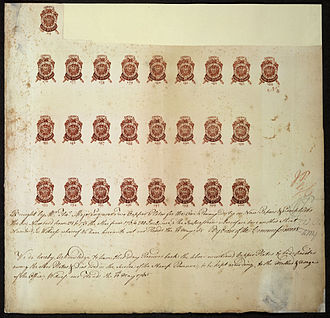 Stamp Act 1765 - Proof sheet of one-penny stamps submitted for approval to Commissioners of Stamps by engraver, May 10, 1765