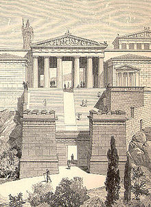 Propylaea and Temple of Athena Nike at the Acropolis (Pierer).jpg