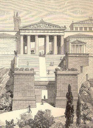 Propylaea - A 19th-century drawing of what the Propylaea might have looked like when intact