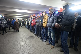 Protestors preparing to enter clashes in the subway tunnel. Euromaidan Protests. Events of Jan 19, 2014.jpg