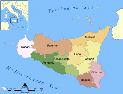 Sicilian provinces: Aeolian Islands of Messina, isle of Ustica (Palermo)