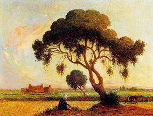 Breton Woman Seated under a Large Tree