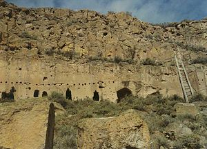 Puye Cliff Dwellings - Entrances to the dwellings