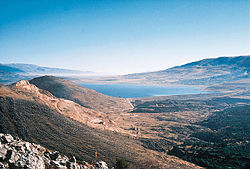 Lake Qaraoun or Lake Litani, upstream of Qaraoun village in the Beqaa Valley in Lebabon