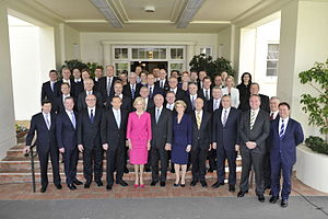 Quentin Bryce with the newly sworn in Abbott Government.jpg