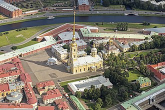 Saints Peter and Paul Cathedral, Saint Petersburg - Image: RUS 2016 Aerial SPB Peter and Paul Cathedral