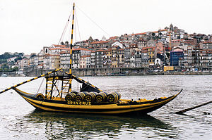 Portuguese wine - The traditional rabelo boat, used to transport Port Wine from the Douro Valley to the cellars near the city of Porto.