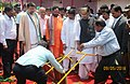 """Radha Mohan Singh and the Minister of State for Petroleum and Natural Gas (Independent Charge), Shri Dharmendra Pradhan visiting the Farmers' Fair on the occasion of """"Akshaya Tritiya"""", at Cuttack, Odisha.jpg"""
