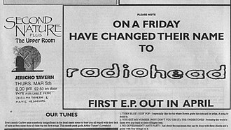 Radiohead - Advertisement placed in Oxford music magazine Curfew announcing On a Friday's change of name