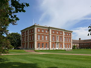 "Radley College - South front of Radley Hall – the ""Mansion"" – with part of the school's main corridor to the right"