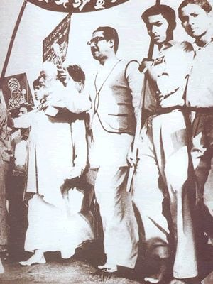 Sheikh Mujibur Rahman - Rally on 21 February 1954 by Moulana Abdul Hamid Khan Bhashani and Sheikh Mujibur Rahman marching barefoot to pay their tributes to the Language Movement Martyrs