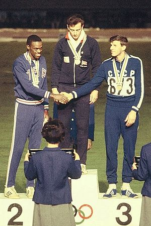 Athletics at the 1964 Summer Olympics – Men's long jump - Image: Ralph Boston, Lynn Davies, Igor Ter Ovanesyan 1964