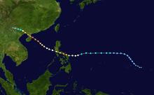 Il percorso del tifone, nell'oceano Pacifico occidentale.