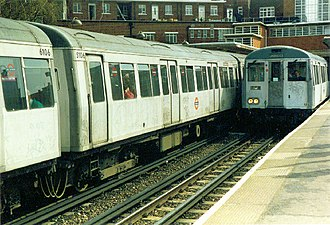 London Underground A60 and A62 Stock - A Stock at Rayners Lane station in their original unpainted livery