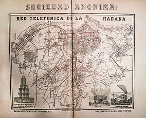 Telecommunications in Cuba - An 1895 map of the first telephone network in Havana, Cuba on display in the ETECSA Telephone Museum.