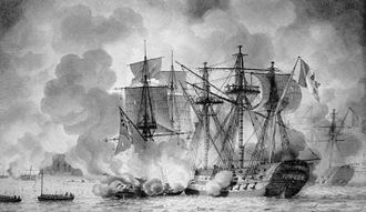 Battle of the Basque Roads - Régulus under attack by British fireships, during the evening of 11 April 1809. Louis-Philippe Crépin