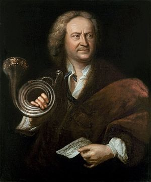 Elias Gottlob Haussmann - Gottfried Reiche Oil painting by Haussmann, 1726-7