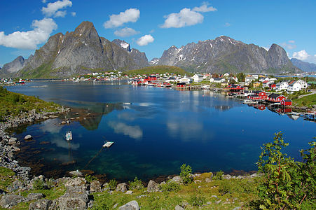 View of the small village of Reine in Lofoten, Norway